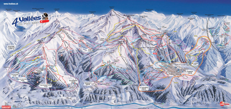 Mapa regionu 4 Doliny w Alpach Szwajcarskich